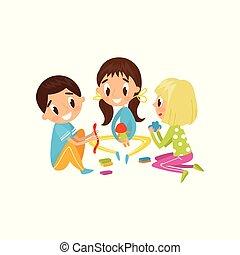 concept, mignon, peu, gosses, illustration, plasticine, vecteur, figures, fond, enfant, confection, développement, education, blanc