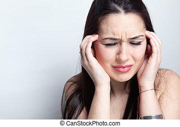 concept, migraine, -, souffrance, femme, mal tête
