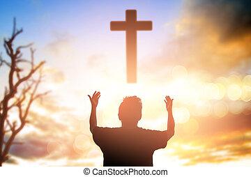 concept, migrant, droit, moral, humain, prière, confiance, adoration, catholique, prier, dieu, liberté, religion, élévation, noir, changement, réponse, chrétien, gras, puissance, gratuite, chagrin, fond, hands., pitié, fasting., amnesty, triomphe