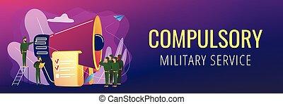 concept, militair, header., compulsory, dienst, spandoek