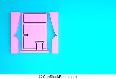 concept., minimalismo, rosa, illustrazione, icona, fondo., blu, finestra, isolato, 3d, render, tenda, stanza