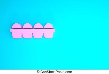 concept., minimalismo, rosa, illustrazione, icona pollo, fondo., scatola blu, isolato, 3d, render, uovo