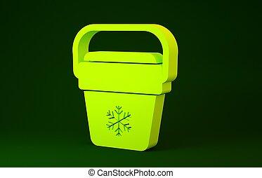 concept., minimalizm, ikona, torba, refrigerator., ilustracja, tło., bag., zielony, zamrażarka, żółty, chłodnica, przenośny, 3d, odizolowany, render, handheld