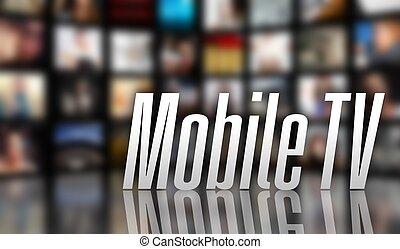 concept, mobile, écran, tv, lcd, panneaux