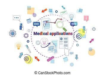 concept, mobile, app, ligne, thérapie, traitement, applications, healthcare, médecine, bannière, monde médical