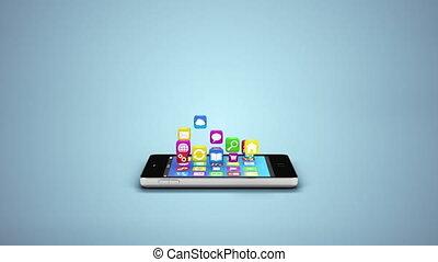 concept, mobile, app, synchro, téléphone, nuage