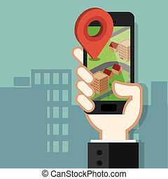 concept, mobile, app, téléphone, navigation, gps