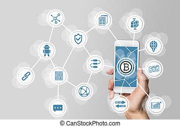 concept, mobile, blockchain, bitcoin, gris, envisagé,...