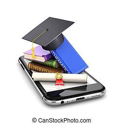 concept, mobile, science, diplôme, illustration, chapeau gradué, education., livres, téléphone., étape, pile, avoir, vers, 3d