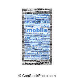 concept, mobile, symbole, isolé, téléphone, ou, icône