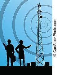 concept, mobile, télécommunications, téléphone, base, radio, fond, station, tour, ou, ingénieurs