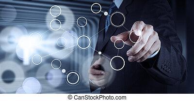 concept, moderne, organigramme, main, informatique, vide, nouveau, dessin