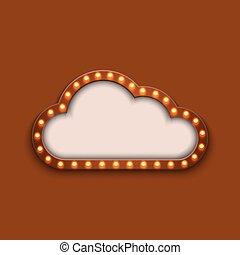 concept, moderne, vecteur, retro, fond, panneau affichage, nuage