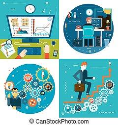 concept, moderne, zakenman, ontwerp, statistiek, tree, mal, online, plat, zakelijk, tijdsverloop, symbool, illustratie, achtergrond, bureau, pictogram, succes, studeren, werken, vector, toestellen, modieus