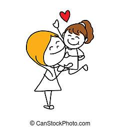 concept, moeder, spotprent, hand, tekening, dag, vrolijke