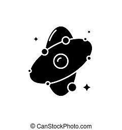 concept, molecule, vrijstaand, illustratie, meldingsbord, achtergrond., vector, black , pictogram, symbool