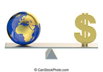 concept, mondiale, équilibre, argent