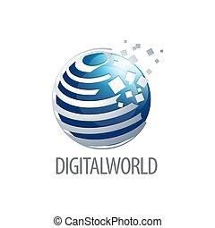 concept, mondiale, symbole, trois, élément, dimensionnel, sphère, graphique, gabarit, numérique, logo, design., style., 3d