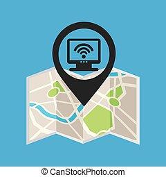 concept, moniteur, épingle, wifi, sans fil, icône