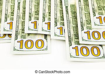 concept, monnaie, argent, dollar, billets banque, édition, fonds, nouveau, 100, profite