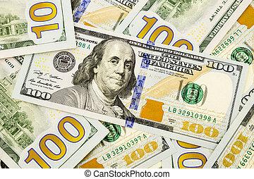 concept, monnaie, argent, dollar, billets banque, édition, inflation, économique, nouveau, 100