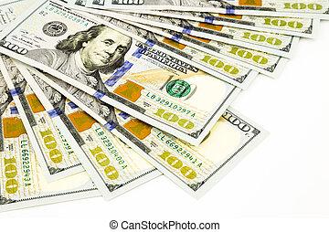 concept, monnaie, argent, dollar, billets banque, édition, nouveau, 100