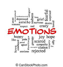 concept, mot, émotions, casquettes, nuage, rouges
