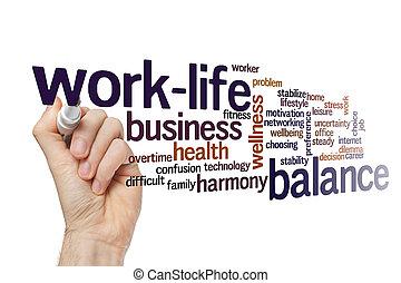 concept, mot, équilibre, work-life, nuage