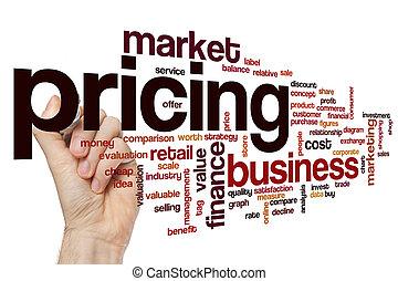 concept, mot, établissement des prix, nuage