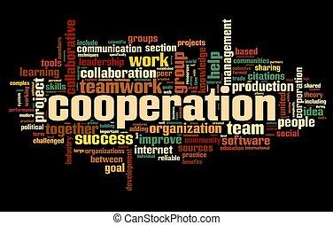 concept, mot, étiquette, noir, coopération, nuage
