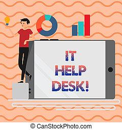 concept, mot, aide, business, technology., texte, projection, il, écriture, portion, desk., ligne, soutien, assistance