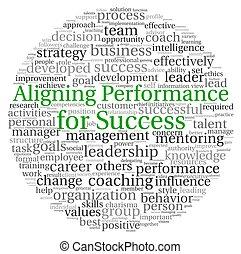 concept, mot, aligner, étiquette, performance, nuage