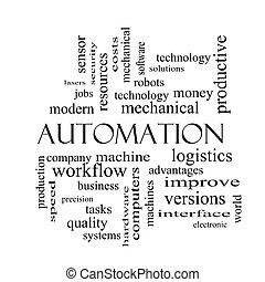 concept, mot, automation, noir, nuage blanc