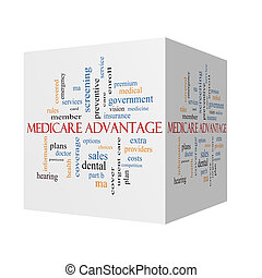 concept, mot, avantage, cube, assurance-maladie, nuage, 3d