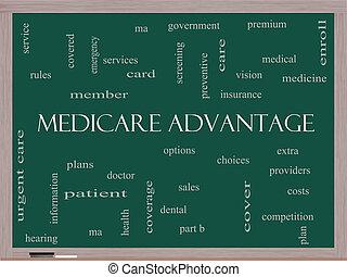 concept, mot, avantage, tableau noir, assurance-maladie, nuage