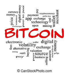 concept, mot, bitcoin, casquettes, nuage, rouges