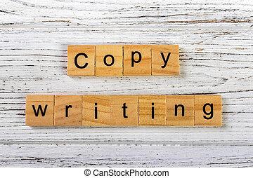 concept, mot, bois, fait, copywriting, blocs