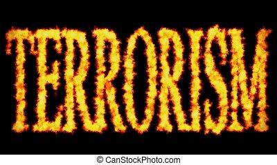 concept, mot, brûlé, texte, arrière-plan noir, terrorisme