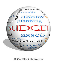 concept, mot, budget, sphère, nuage, 3d