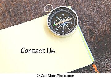 concept, mot, business, bois, image, nous, note, contact, tampon, fond, compas, sur