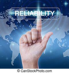 concept, mot, business, bouton, screen., virtuel, main, urgent, fiabilité