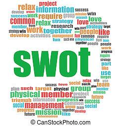 concept, mot, business, collage, word., nuage, swot