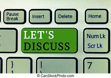 concept, mot, business, discuss., texte, sur, haut, écriture, topic, s, partage, laisser, bavarder, permis, aller, ouvert, parler