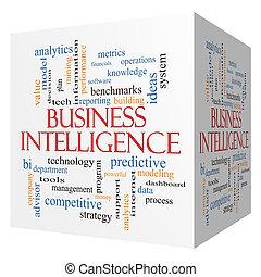 concept, mot, business, intelligence, cube, nuage, 3d