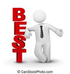 concept, mot, business, présentation, homme, mieux, 3d