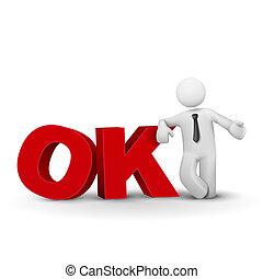 concept, mot, business, présentation, ok, homme, 3d
