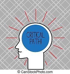 concept, mot, business, séquence, texte, écriture, projet, time., critique, plus longtemps, exiger, étapes, path.