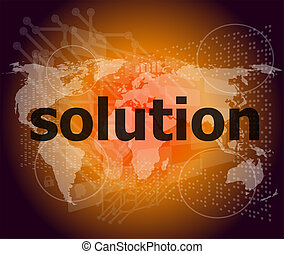 concept, mot, business, solution, écran, numérique