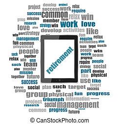 concept, mot, business, tablette, collage, word., pc, retraite, nuage