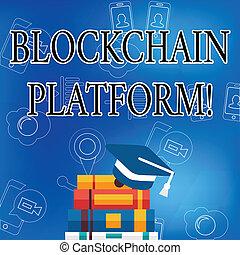 concept, mot, business, texte, blockchain, virtuel, écriture, cryptocurrency, platform., space., numérique, échanger